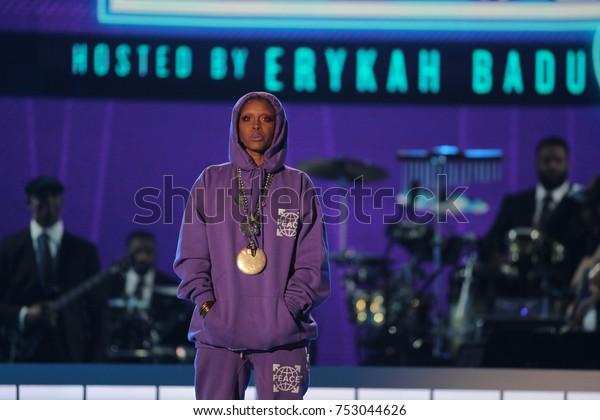 Host Erykah Badu at the BET Presents: 2017 Soul Train Awards in Las Vegas, Nevada on November 5th  2017 at the Orleans Arena