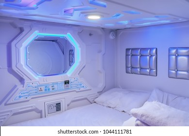 HOSTEL GALAXY PODS, Chinatown, SINGAPORE, FEB 12, 2018: Interior of capsule hotel beds in Singapore