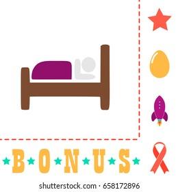 Hostel Icon Illustration. Flat color pictogram on white background and bonus symbol Star, Egg, Rocket, Ribbon