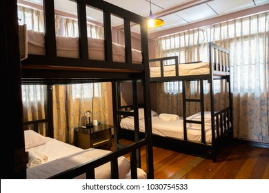 Hostel interior - bedroom. double bed. interior