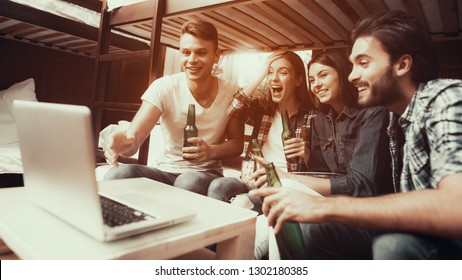 Hostel for Young People. Best Friends Playing. Small Room in Hostel. spend time Together. smiling People. Friends sitting on bed. watching movie together. eat popcorn . friends laugh. warm photo
