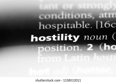 hostility word in a dictionary. hostility concept.