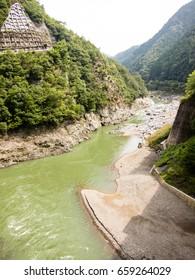 Hosu river view from railroad, Arashiyama, Kyoto, Japan.