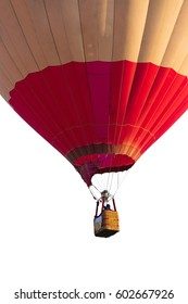 Hot air ballon Japan colur for designer on white background and clipping part for easy to use, red, white
