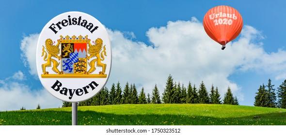"Hot air ballon ""Urlaub 2020""  with sign ""Freistaat Bayern"" - Shutterstock ID 1750323512"