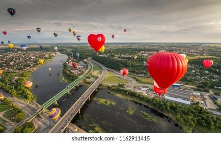 Hot air ballons over Kaunas. Lithuania. 100 ballons fiesta