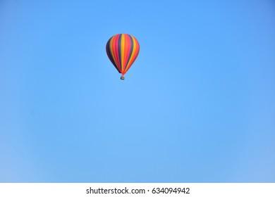 Hot air balloon against the blue sky