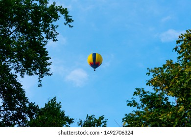 Hot air balloon at the blue sky. Location: Germany, North Rhine-Westphalia, Borken