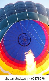 Hot air balloon with burning flame