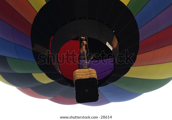 Hot Air Balloon close-up looking skyward.
