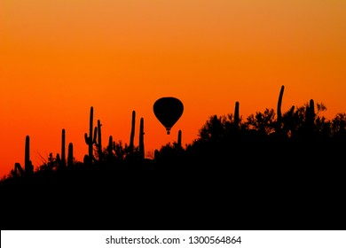 A hot air balloon drifts over Saguaro National Park west of Tucson, Arizona near dawn. A beautiful sunrise with cactus in silhouette and orange and red colors in the sky. Sonoran Desert landscape.