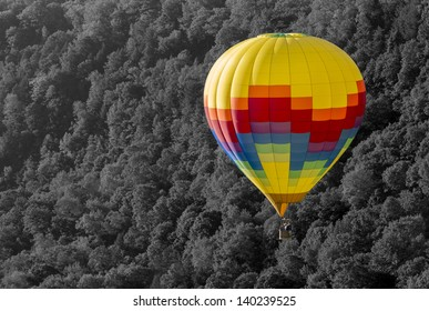 Hot Air Balloon In Early Morning At Letchworth State Park In New York
