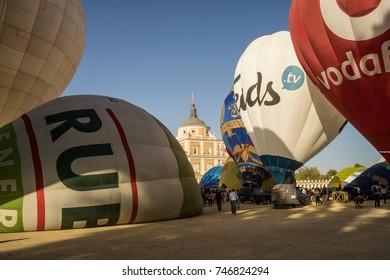Hot air balloon exhibition in Aranjuez,Madrid, September, 2017