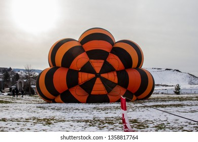 A Hot Air Balloon filling up in Vernon BC