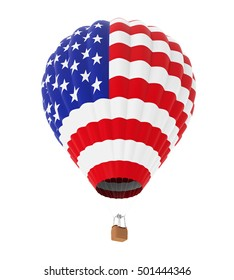Hot Air Balloon with Flag of United States. 3D rendering