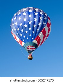 Hot air balloon in flight in the sky