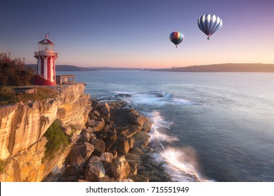 Hot air balloon fly over hornby lighthouse at watsons bay, Sydney, Australia