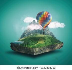 Globo de aire caliente volando sobre un cubo de paisaje montañoso. El concepto de vacaciones y viajes.