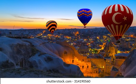 Hot Air Balloon flying morning Goreme landscape Cappadocia Turkey