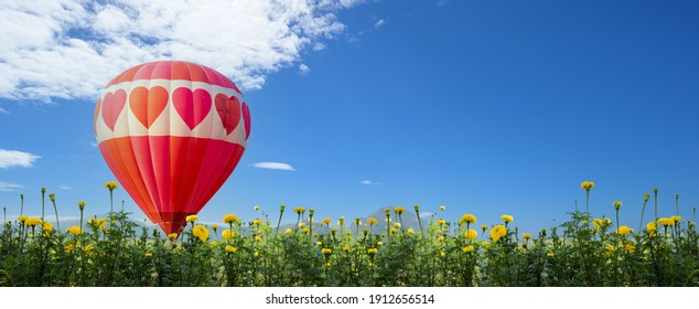 Hot air balloon flying at the natural park and garden. Travel in Thailand and Outdoor adventure activity. Heart shape for Valentines Day. - Shutterstock ID 1912656514