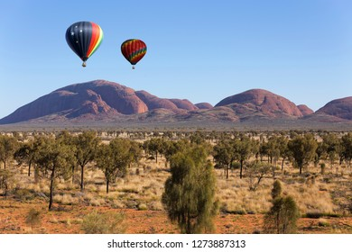 Hot air balloon flying in Northern Territory, Australia