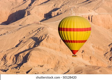 Hot air balloon flying over the Valley of the Kings, Egypt
