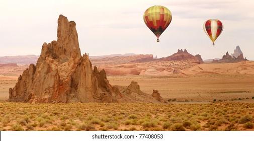 Hot Air Balloon Flying Over New Mexico Desert Landscape