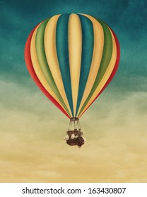 Hot air balloon high in the sky