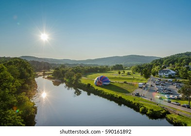 Hot Air Balloon Inflating in Quechee, Vermont