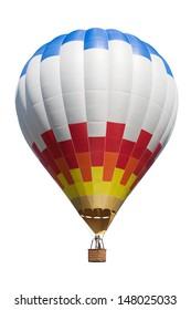 Heißluftballon einzeln auf weißem Hintergrund.