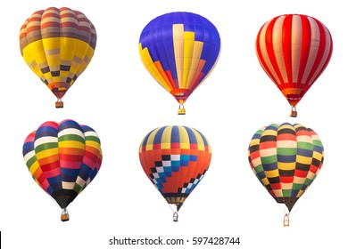 Hot air balloon on white background.