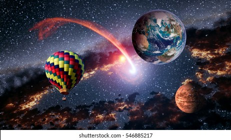 Hot air balloon outer space shooting star planet fairy tale stunning surreal fantasy landscape. Elements of this image furnished by NASA.