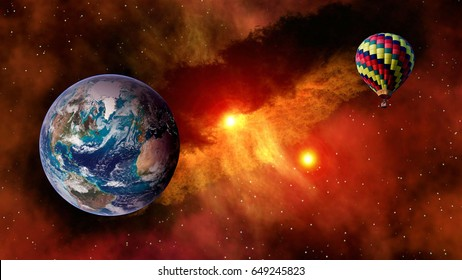 Hot air balloon outer space star planet Earth fairy tale stunning surreal fantasy landscape. Elements of this image furnished by NASA.