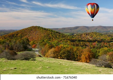 Hot Air Balloon Over the Blue Ridge Parkway, Autumn