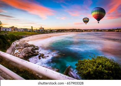 Hot air balloon over Bondi beach in summer, Sydney, New south wales, Australia
