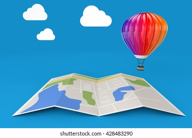 Hot Air Balloon over City Map on a blue background. 3d Rendering