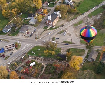 hot air balloon over intersection