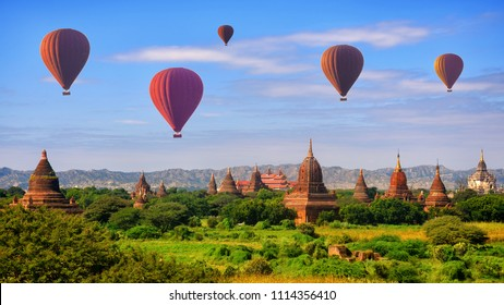 Hot air balloon over pagodas at Bagan, Myanmar