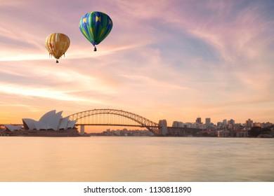 Hot air balloon over Sydney bay in evening, Sydney, Australia