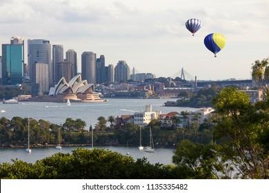 Hot air balloon over Sydney bay
