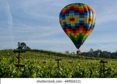 Hot Air Balloon over Vineyard in Napa Valley California