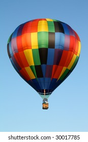 Hot Air Balloon with Rainbow Checker Pattern