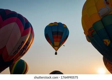 Hot air balloon release in Windsor, Colorado
