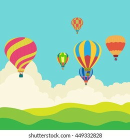 Hot air balloon in the sky, illustration, background, greeting card