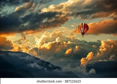 Hot air balloon in a storm cloud