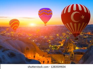Hot Air Balloon Tour in the sky Goreme landscape Cappadocia Turkey