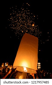 (hot air balloon)Floating sky Lantern in northern Thai traditional new year , Yi Peng Festival and Loy Krathong festival