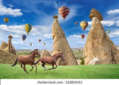 Hot air ballooning is most popular attraction in Kapadokya. Two horses running on green grass near mushroom mountains in Cappadocia, Turkey.