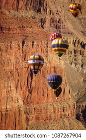 Hot air balloons against dramatic mountain background  - composite from Utah and New Mexico