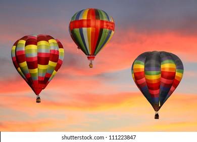 Hot Air Balloons Ascending at Sunrise